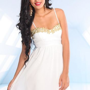 White Sweetheart Neckline Dress with Gold Thread Detail