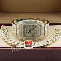 Hip Hop 14K Gold Simulated Diamond Watch Ruby Cuban Bracelet Set F46