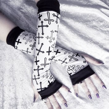 Astaroth Arm Warmers - White w/ Black Crosses - Yoga Gothic Unisex Hooping Bellydance Vampire Cycling Fetish Victorian Lolita Goth Cross