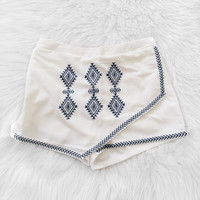 Scarlett Embroidered Angular Skirt (Off White)