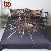 BeddingOutlet Cobweb Bedding Set King Golden and Black Boys Duvet Cover Microfiber Home Textiles Spiderweb Bedclothes 3-Piece