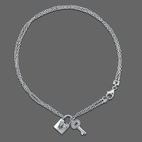 Sterling Silver Anklet Ankle Bracelet with Lock & Key Charms #a029