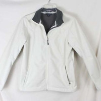 Lands End S 6 8 sz Off White Fleece Lined Poly Zip Jacket  Womens All Weather