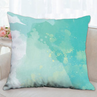 Any Color//Modern Watercolor Pillow// Watercolor Pillows//Custom Pillow//Throw Pillows//Teal and White Pillows// House warming GIFT