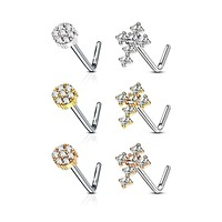 WILDKLASS 6 pcs Pre Loaded Gem Box Value Pack CZ Paved Small Flower and Cross 316L Surgical Steel L Bend Nose Stud Rings