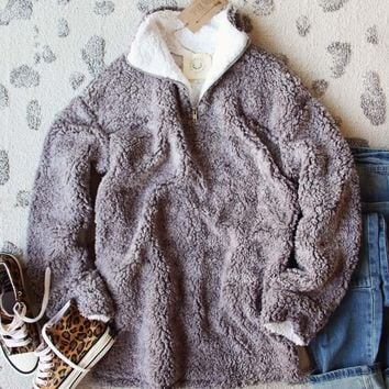 Teddy Cozy Pullover in Gray