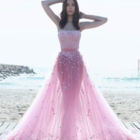 Strapless Floor Length Pink Prom Dresses
