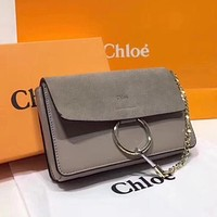 Chloe Trending Women Shopping Chain Leather Crossbody Satchel Shoulder Bag Grey I