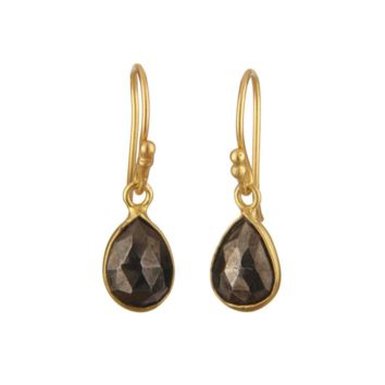 Pyrite Gold Vermeil Drop Earrings