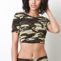 Camo Print Crop Top Color: Camouflage, Size: S