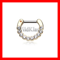 Gold Septum Clicker 16g Golden Glistening Multi Gem 14g Septum Ring Earring Cartilage Piercing Tragus Ring Helix Conch Nose Belly Nipple