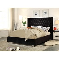 Aiden Black Velvet King Bed