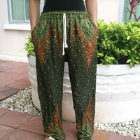 Green Yoga Pants Peacock Harem Boho Printed Unisex Casual Aladdin Fisherman Native Hippie Massage Rayon pants Gypsy Thai Women Dress Baggy