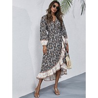 Allover Floral Ruffle Trim Belted Wrap Dress