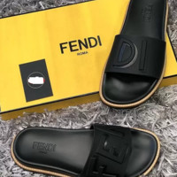 Black FENDI Leather Slides Slipper Sandals Flats Shoes