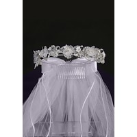 "Girls Organza & Crystal Flowers 24"" Communion Veil w. Beading"