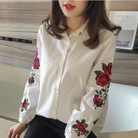 Women's Summer Spring Long Sleeve Blouse Floral Embroidered Shirt Striped Casual Shirt Tops