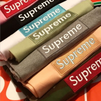 Supreme Fashion Hot Sale Word Print Embroidery Women Men Classic Loose Tee Top B104517-1 Multicolor