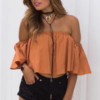 Posie Off The Shoulder Ruffle Crop Top - Burnt Orange