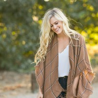 Trina Camel Plaid Shawl