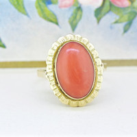 Vintage Coral Ring | Bold Gemstone Ring | Statement Ring | 14k Yellow Gold Cocktail Ring | Architectural Jewelry | Geometric Ring | Size 6.5
