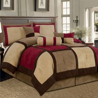 King size 7-Piece Bed Bag Patchwork Comforter Set in Brown Burgundy Red