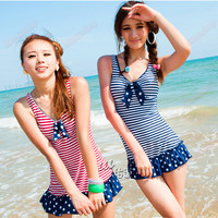 Plus Size Womens One Piece Striped Bowknot Pad Swimsuit Swimskirt Bathing Suits