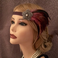 Gatsby Style Beaded Flower Multi-Color Dark Pink Iridescent Green Grey Velvet Art Deco 1920's Flapper Headband Headpiece 1920 Pearl (606)