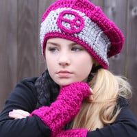 Raspberry Pink &Gray Hat with Peace Sign