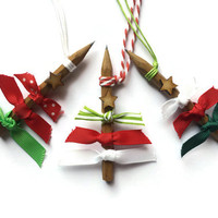 Pencil and Ribbon Christmas Tree Ornaments Rustic and Unique decorations in White Red and Green
