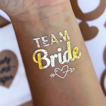 One (1) Team Bride bachelorette party, bridal party, bachelorette tattoo, Gold Temporary Tattoo, Hens party**Ships within 24 hours of order