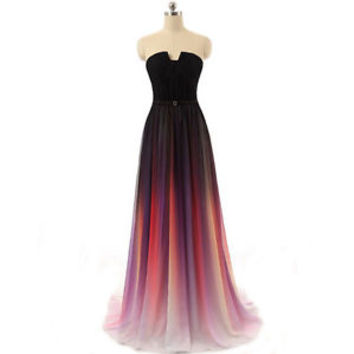New Gradient Chiffon Evening Dresses Long Ombre Party Prom Formal Pageant Gowns