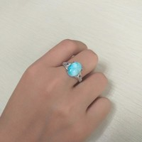 Fashion Girls Rings with Blue Larimar Gems Crystal, Fine Jewelry 925 Sterling Silver Woman Real Larimar Gemstone Ring for Party