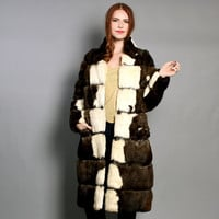 60s 2-Tone FUR COAT / Blonde & Brown Rabbit Fur Striped Jacket