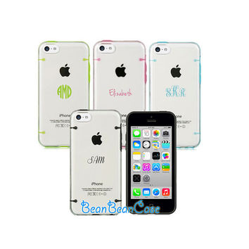 Transparent cover clear hard case, personalized monogram name text custom case for iPhone 5c 5 5s case, iPhone 6, 6 plus clear case