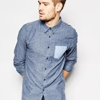 Another Influence Brushed Shirt With Contrast Pocket