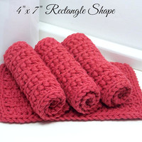 Crochet Dishcloths, Reusable Cotton Dishcloths, Hand Crochet Dishcloths, Set of 4 American Cotton, Eco Friendly Kitchen, Country Red