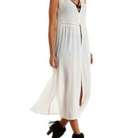 Ivory Crochet-Topped Button-Up Maxi Top by Charlotte Russe