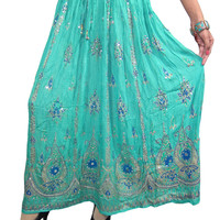 Womens Indian Long Skirt Green Sequins Ankle Length Boho Skirts India Clothing