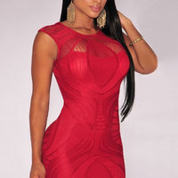 Red Optical Lace Nude Illusion Sleeveless Bodycon Dress