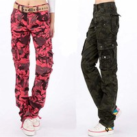 Fashion 2015 Women Men Casual Loose 3D Printed Cargo Pants Army camouflage Overalls Trousers Plus Size 5XL
