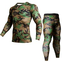 Camouflage Sportswear Men's Running Suit Compression Clothes Quick-drying Gym Training Long-sleeved T-shirt  Weat pants 2pc set