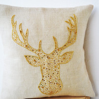 Deer Pillows - Animal pillow with stag embroidered in gold sequin -Burlap pillows -Gold pillow covers- Gold pillows- Christmas pillows 12x12