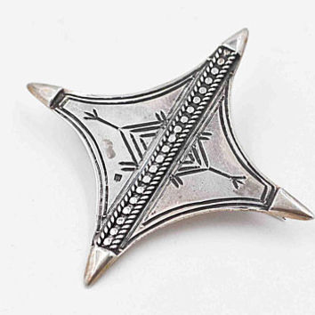 Vintage 800 Silver Egyptian Brooch Pin, Egypt Jewelry, Etched Symbols, 3D, Diamond Shape, Bead, Pointed, Handmade, So Unique! #c507