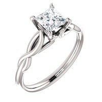 14k White Gold 5mm Princess Solitaire Forever One Moissanite Engagement Ring