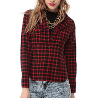 Red Plaid Long Sleeve Button Up Blouse