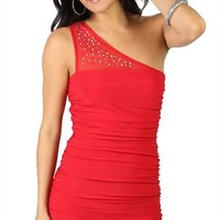 One Shoulder Dress with Illusion Mesh Neckline and Ruched Sides