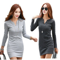 Women's Autumn and Winter Fashion Loose Long-sleeved Cotton Package Hip Dress Large Size V-neck Sexy Dresses Bottoming = 1929569732
