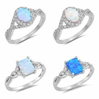"""NEW Sterling Silver Rings- """"OPAL"""" DESIGNS SIZES 4-10"""