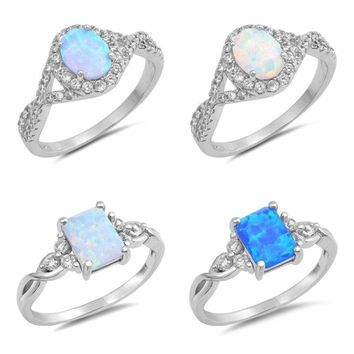 "NEW Sterling Silver Rings- ""OPAL"" DESIGNS SIZES 4-10"
